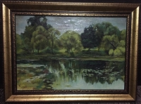 """Картина """"Пейзаж с озером"""", 1 пол. XX в."""