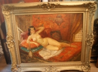 """Картина """"Восточная девушка с кальяном"""", Франция 2 пол.XIX - нач. XX в."""