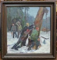 """Картина """"Лесорубы"""", СССР, 50-е г."""