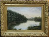 """Картина """"Пейзаж с рыбаком"""",  XIX в."""