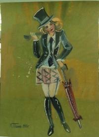 """Картина """"Девушка в цилиндре"""""""