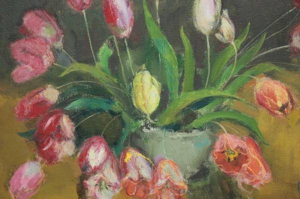 Картина «Натюрморт с тюльпанами» художник Нафиков Р.Х. СССР 1994 г.