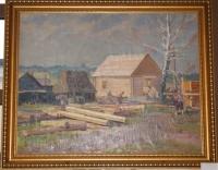 Картина «Деревенская стройка», художник Чеков Л.Д., 1955 г.