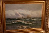 "Картина ""Корабли при шторме"", E.D. Volz Hbg"