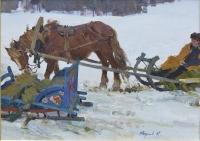 "Картина ""Лошадь и сани"", Художник Якупов Х.А., 1961 г."