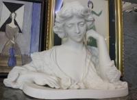 """Скульптура-бюст """"Девушка с розой"""",  Севр, Франция, XIX в."""