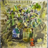 """Картина-акварель """"Весна"""", художник Рахманкулова Г.А., СССР, 1986 г."""