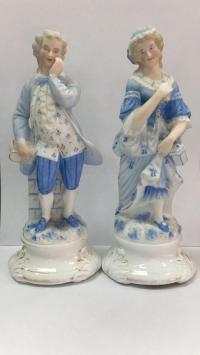 """Парные статуэтки фарфоровые """"Юноша и леди"""""""