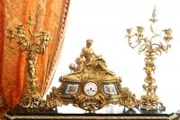 """Каминный сет """"Богиня Урания - покровительница наук и искусств"""" с часами и канделябрами в стиле роккоко,Европа XIX в."""